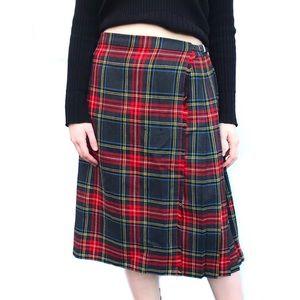 90s Vintage red grey plaid tartan punk midi skirt